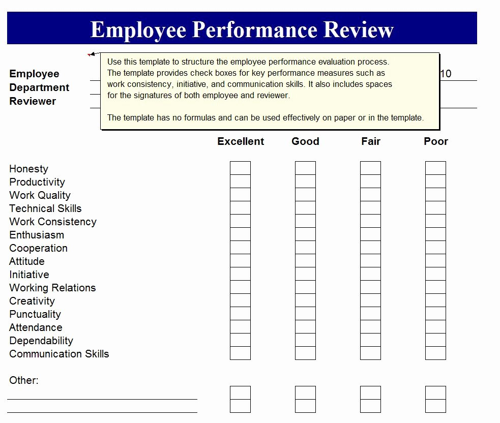 Employee Evaluation Template Excel New Employee Performance Review