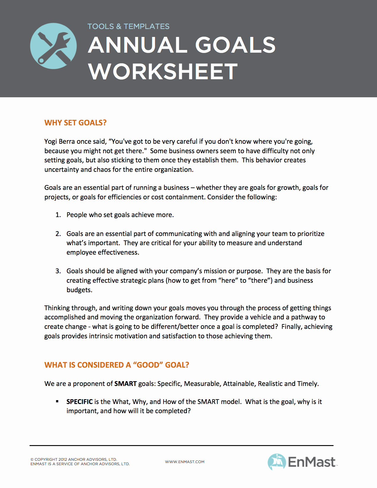 Employee Goal Setting Template Awesome Annual Goal Setting Worksheet for Business