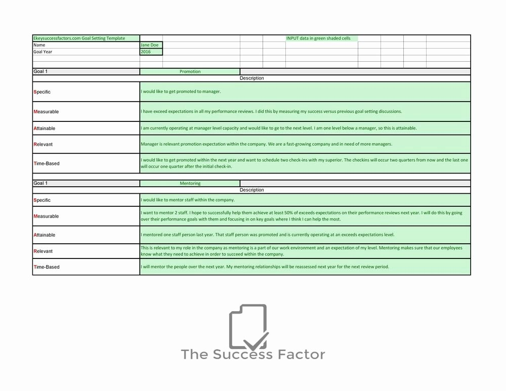 Employee Goal Setting Template Awesome Employee Goals and Objectives Template