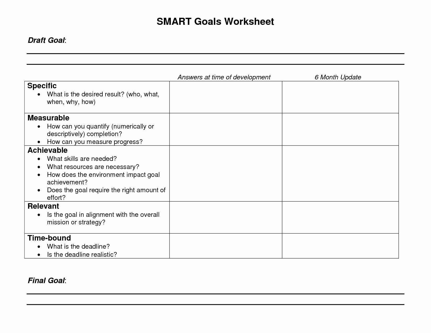 Employee Goal Setting Template Elegant 8 Best Of Blank Printable Goals Template Smart