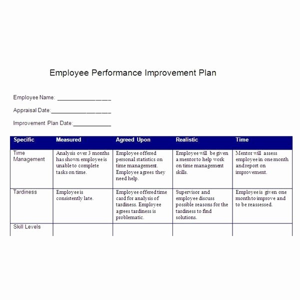 Employee Goal Setting Template Inspirational Create A Performance Improvement Plan Based On Smart Goals