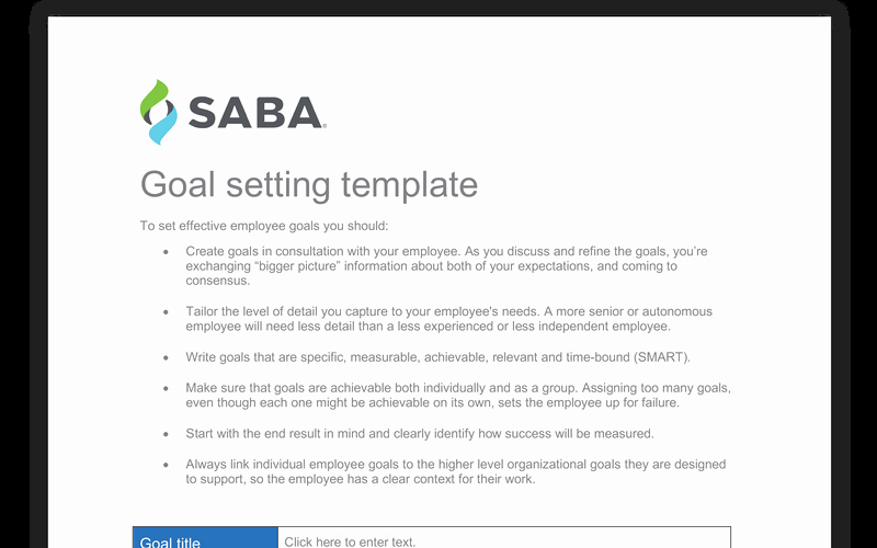 Employee Goal Setting Template Lovely Employee Goal Setting Template