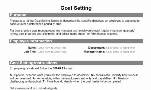 Employee Goal Setting Template Lovely Human Resource forms for the Entire Employee Lifecycle