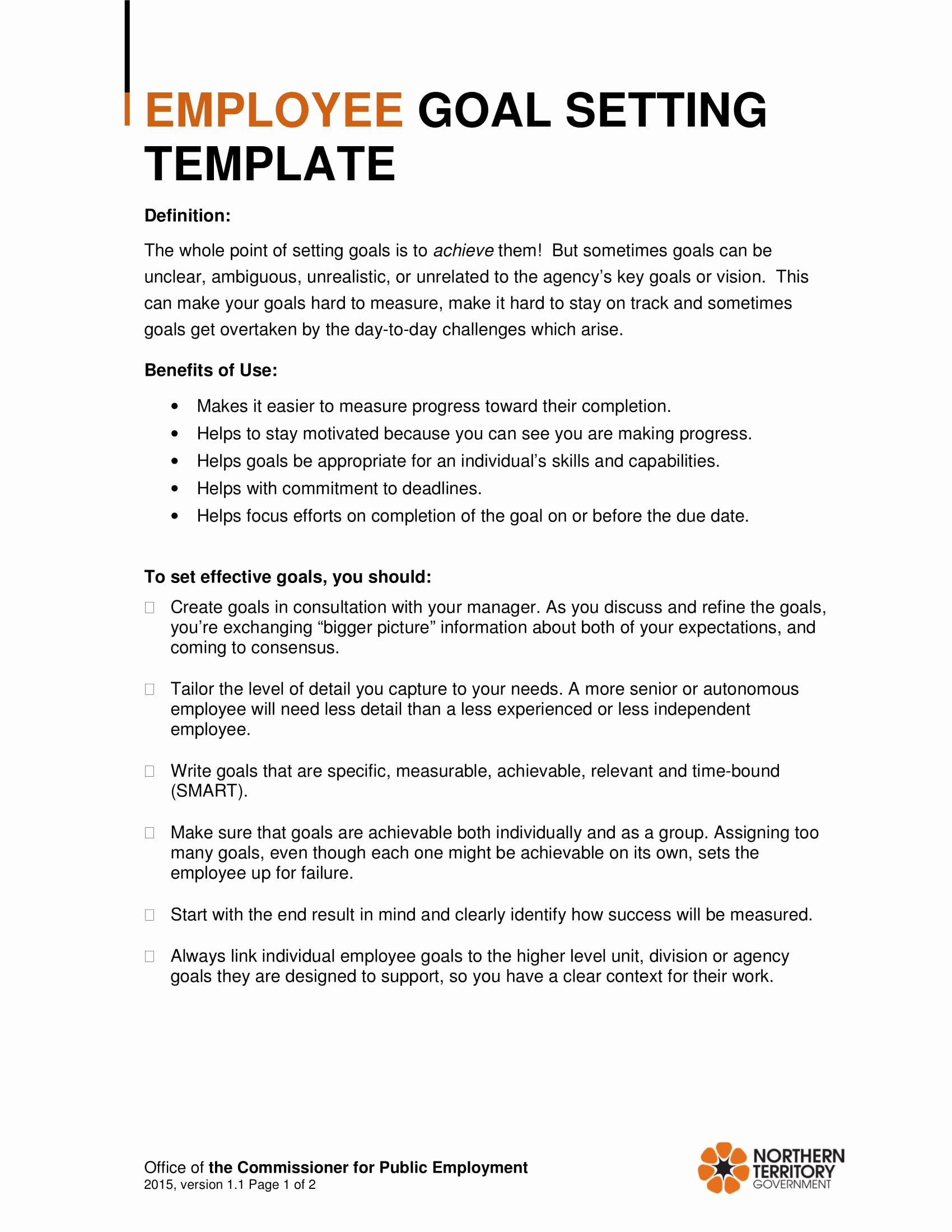 Employee Goal Setting Template Unique 9 Employee Goal Setting Examples Pdf
