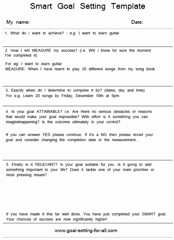 Employee Goal Setting Template Unique Employee Goal Setting form Template
