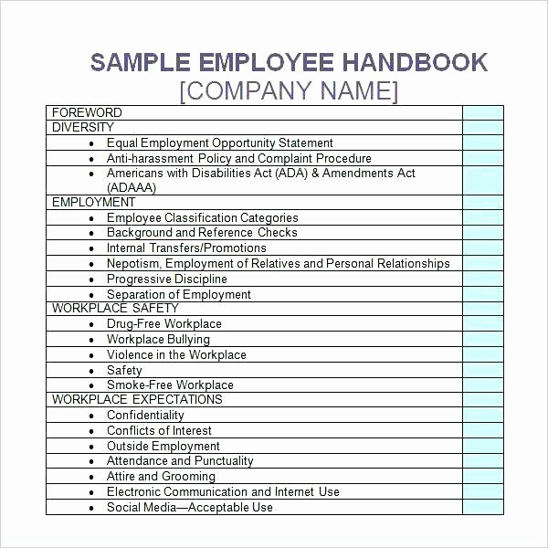 Employee Handbook Template Word Awesome Training Handbook Examples Employee Handbook Template