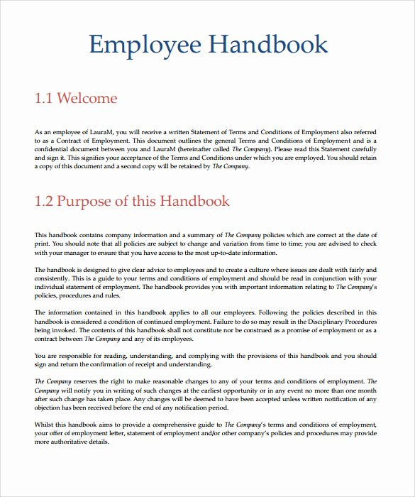 Employee Handbook Template Word Beautiful Employee Handbook Template