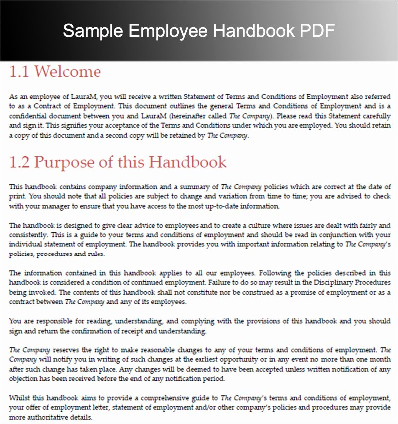 Employee Handbook Template Word Best Of 10 Employee Handbook Templates Free Word Pdf Doc Samples