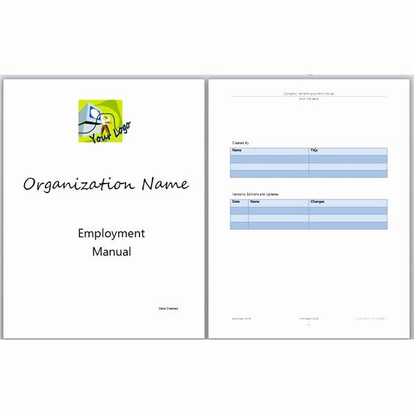 Employee Handbook Template Word New Microsoft Word Manual Template Basic and Employment