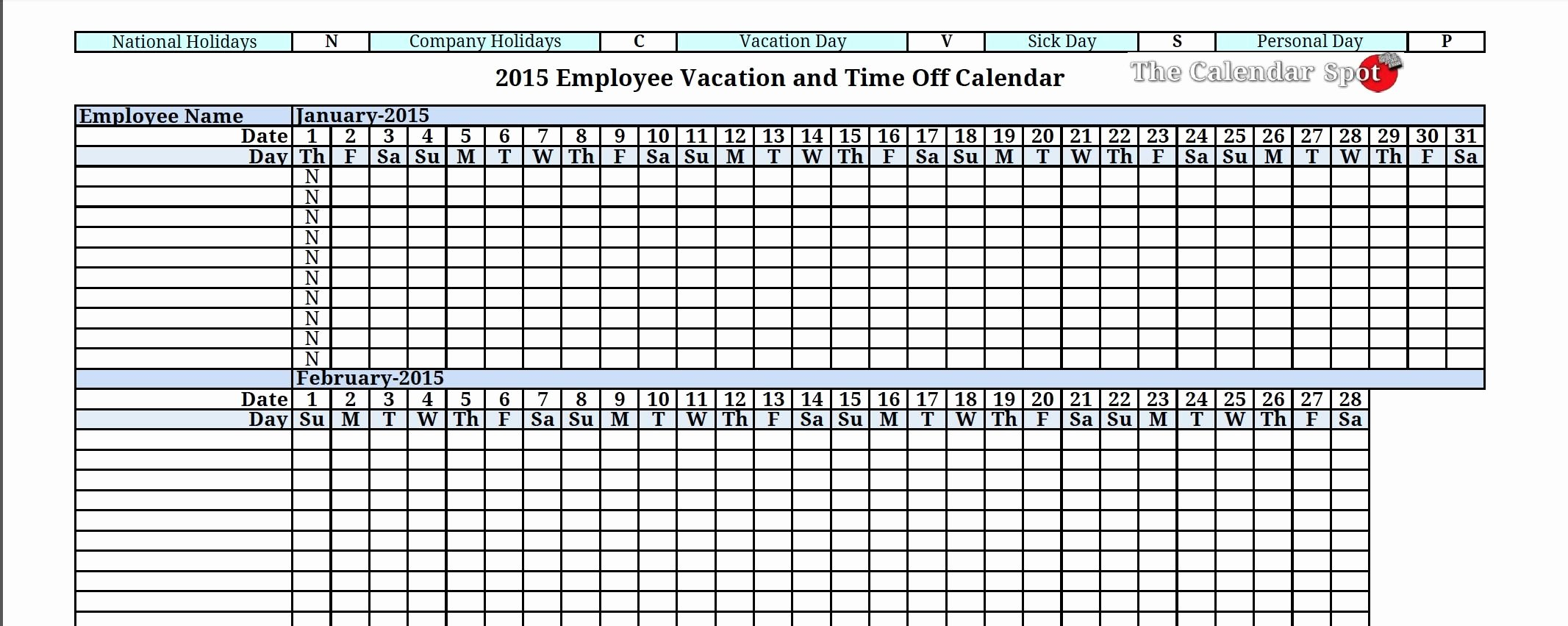 Employee Holiday Schedule Template Beautiful 2015 Employee Vacation Absence Tracking Calendar