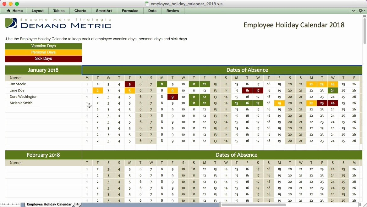 Employee Holiday Schedule Template Best Of Excel Employee Vacation Calendar Template 2017