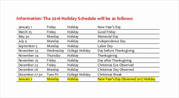 Employee Holiday Schedule Template Elegant Holiday Schedule Template – 15 Free Pdf Documents