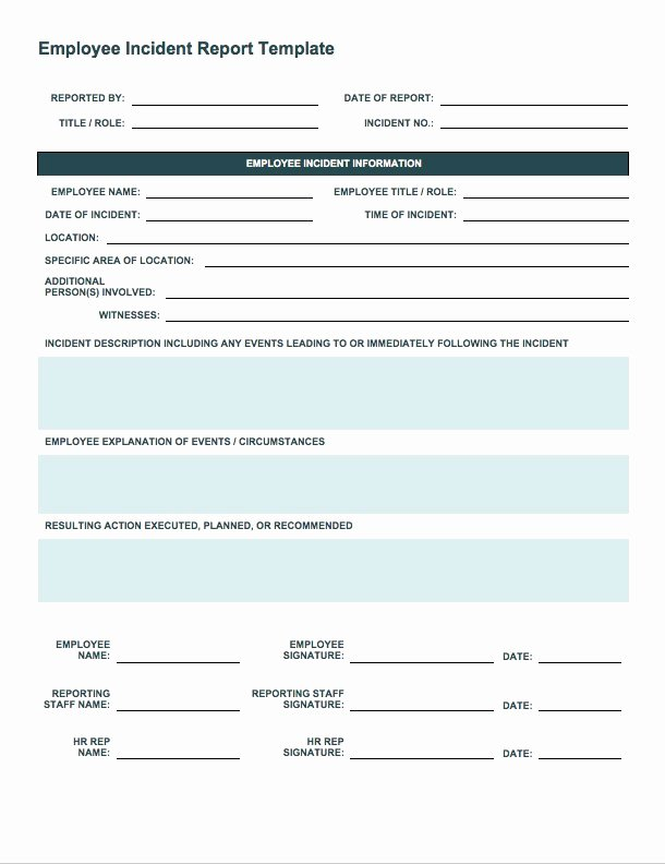 Employee Incident Report Template Best Of Free Incident Report Templates Smartsheet