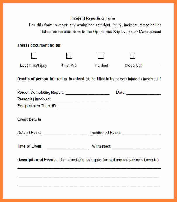 Employee Incident Report Template Lovely 3 Employee Incident Report form Template