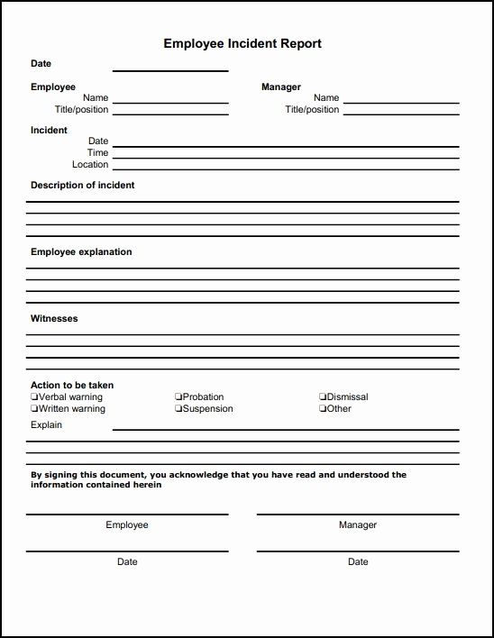 Employee Incident Report Template Lovely Employee Incident Report Template