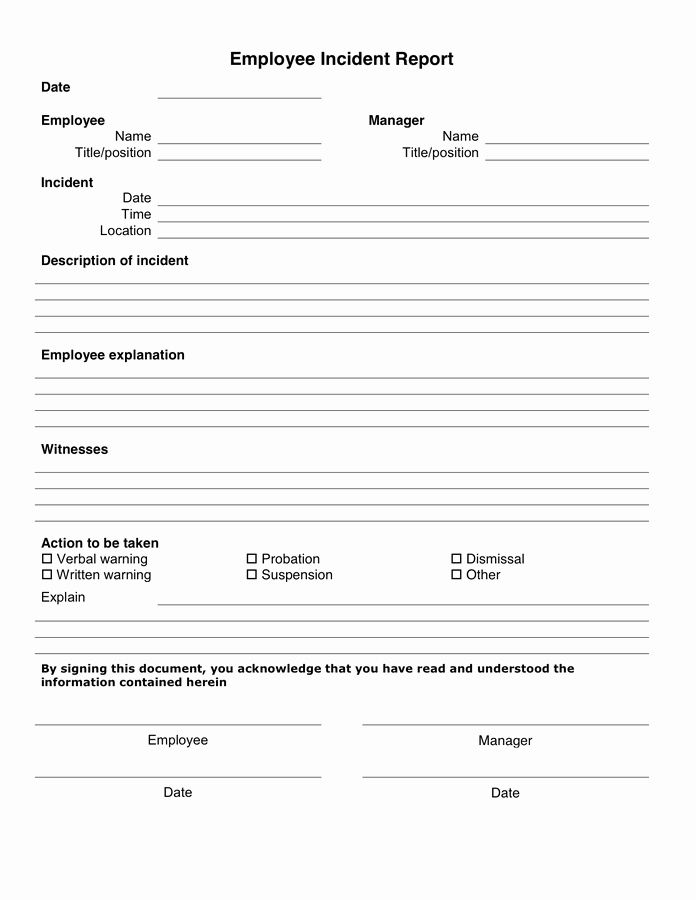 Employee Incident Report Template New 10 Incident Report Templates Word Excel Pdf formats