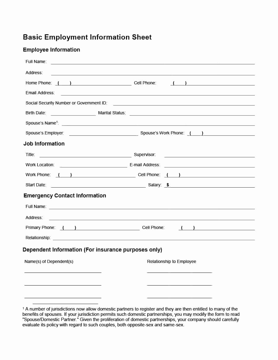 Employee Information form Template Awesome 47 Printable Employee Information forms Personnel