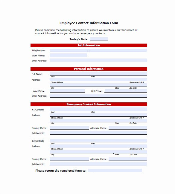 Employee Information form Template Awesome Contact List Template 10 Free Word Excel Pdf format