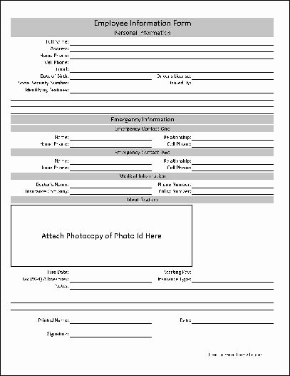 Employee Information form Template Awesome Free Basic Employee Information form From formville