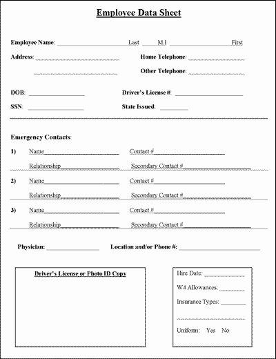 Employee Information form Template Beautiful Employee Information Sheet
