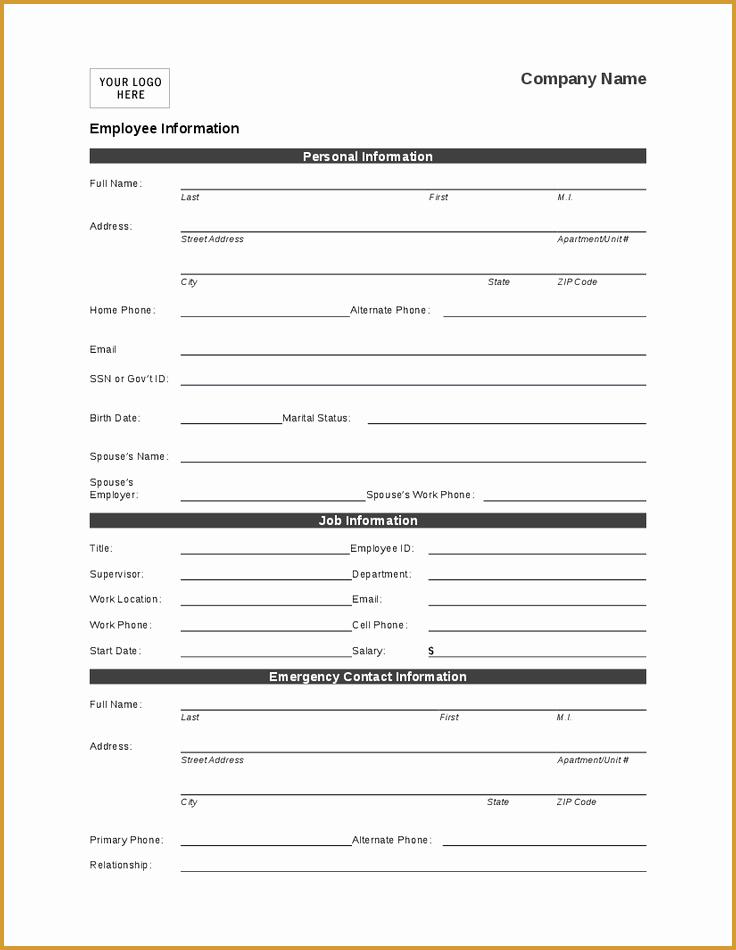 Employee Information form Template Beautiful Employee Personal Information form Template