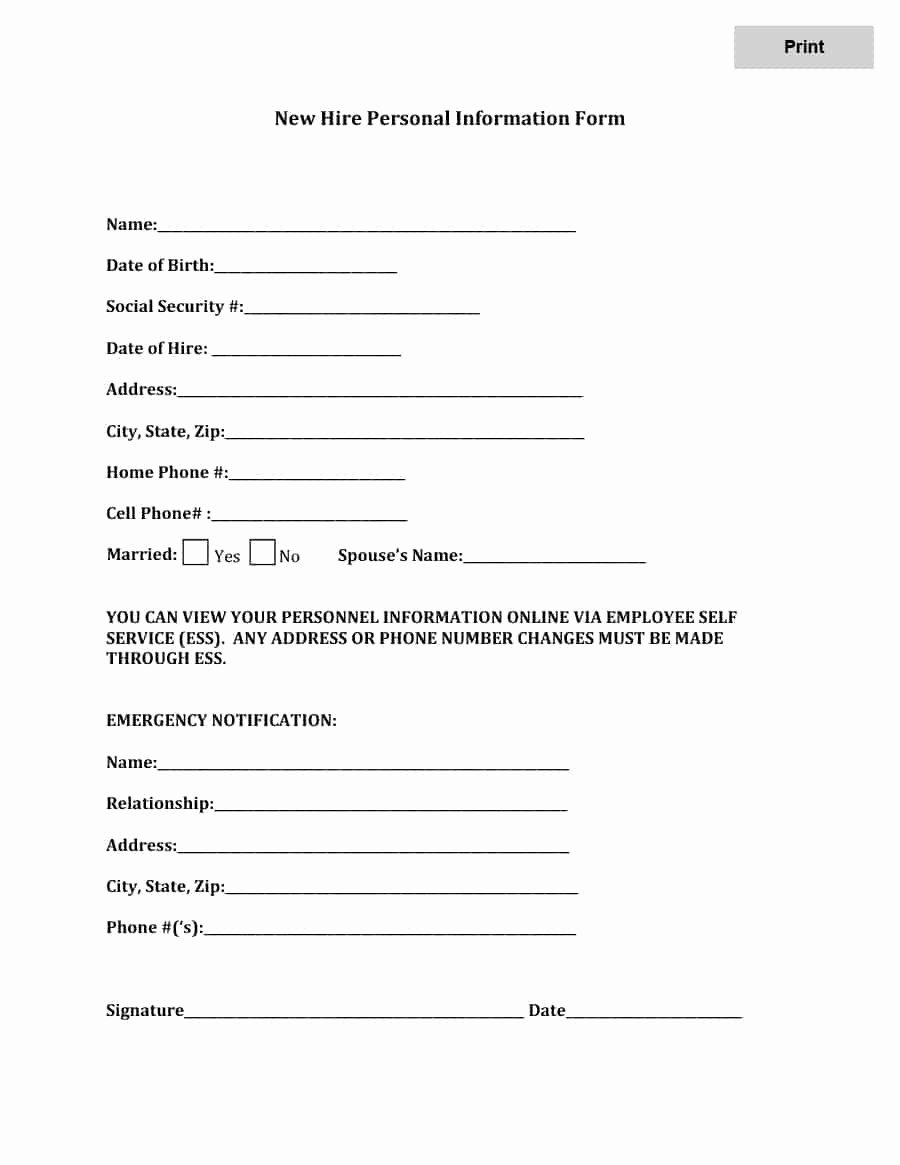 Employee Information form Template Best Of 47 Printable Employee Information forms Personnel