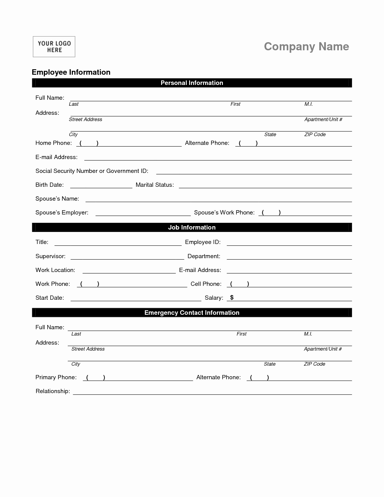 Employee Information form Template Best Of Employee Personal Information form Template