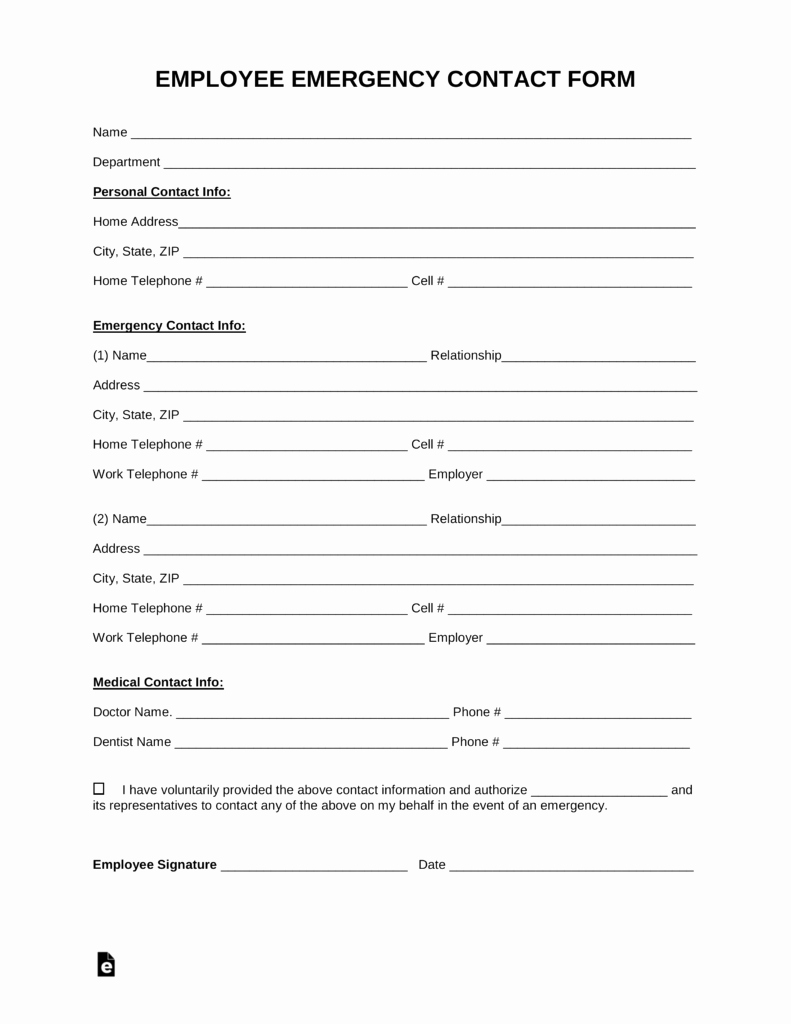 Employee Information form Template Elegant Free Employee Emergency Contact form Pdf Word