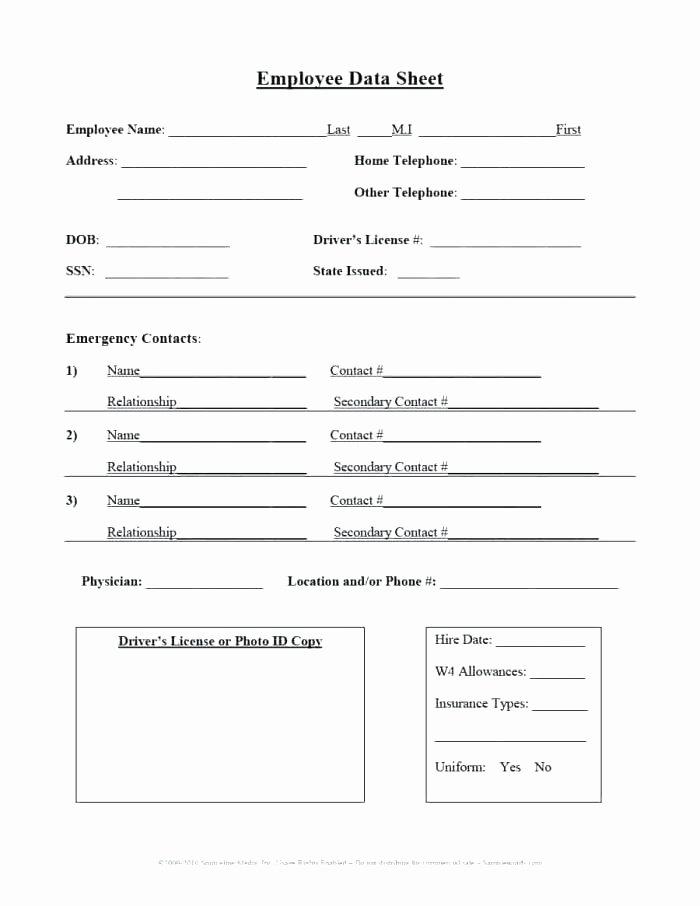 Employee Information form Template Fresh Employee Information form Template – Psychicnights