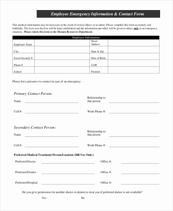 Employee Information form Template Inspirational 10 Sample Employee Information forms