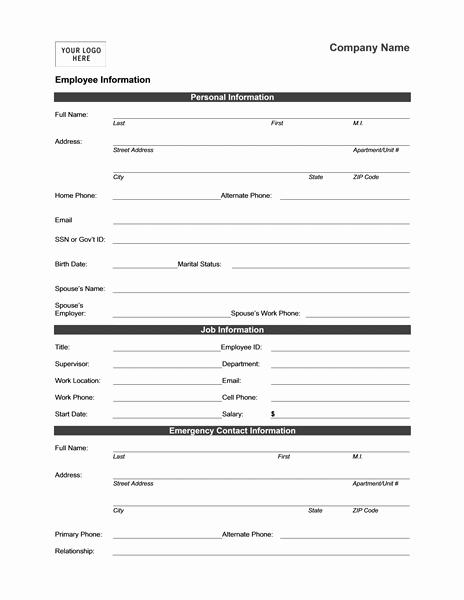 Employee Information form Template Inspirational Employee Address Change form Template Alfonsovacca