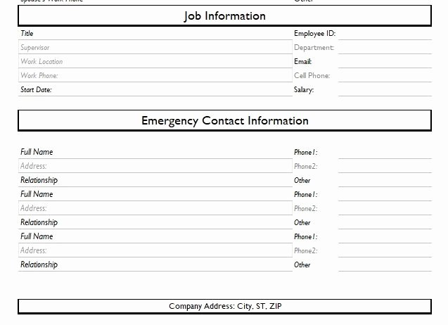 Employee Information form Template Inspirational Employee Information form Excel and Word Templates