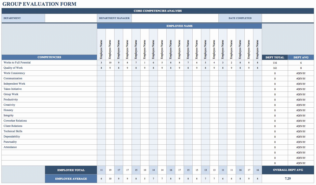 Employee Performance Log Template Elegant Group Evaluation form Employee Performance Review Word