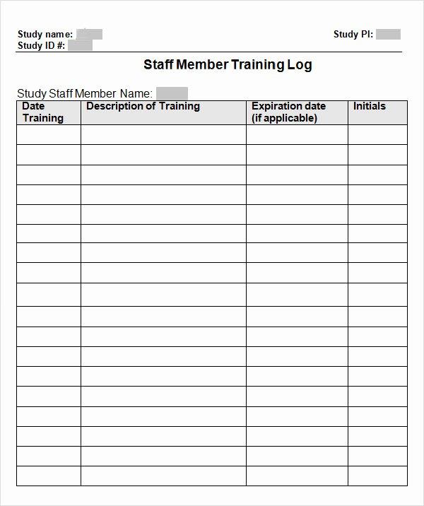 Employee Performance Log Template Fresh 9 Free Training Log Templates – Pdf Word