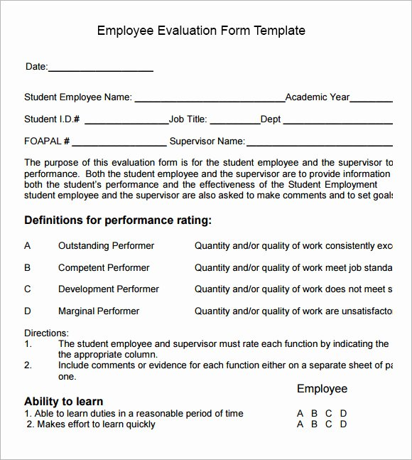 Employee Performance Log Template New 13 Employee Evaluation form Sample – Free Examples