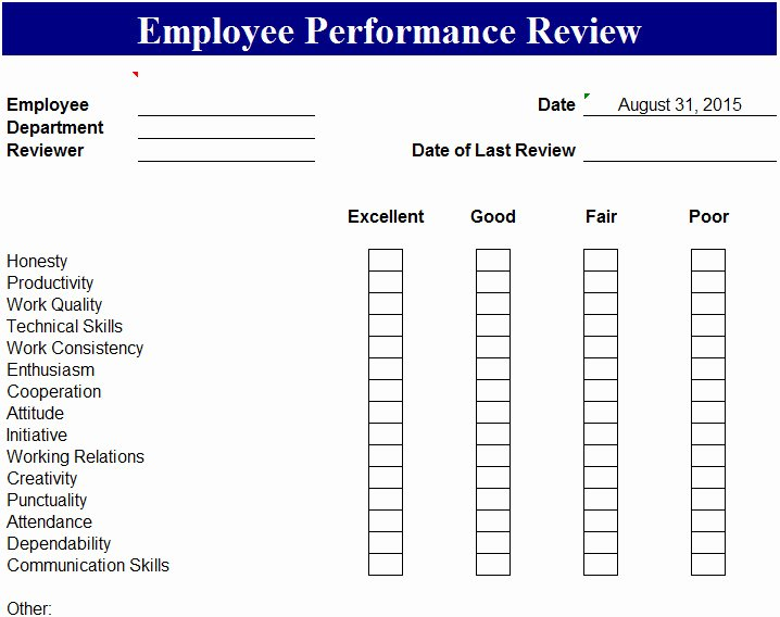 Employee Performance Tracking Template Elegant Employee Performance Review Template My Excel Templates