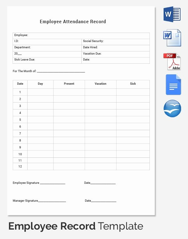 Employee Personnel File Template Beautiful Employee Record Templates 32 Free Word Pdf Documents