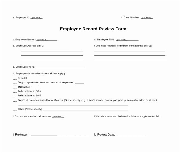 Employee Personnel File Template Unique Employee Record Templates 26 Free Word Pdf Documents