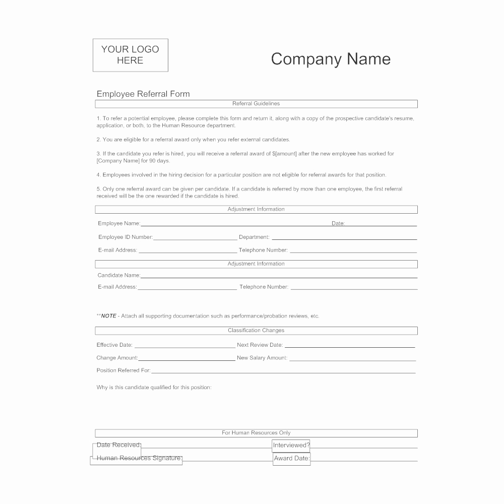 Employee Referral Program Template Best Of Employee Referral form