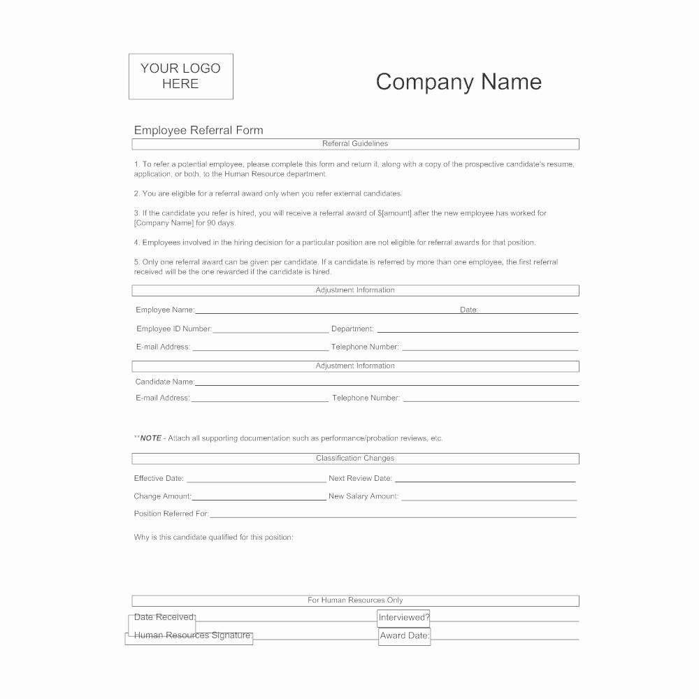 Employee Referral Program Template Best Of Employee Referral form