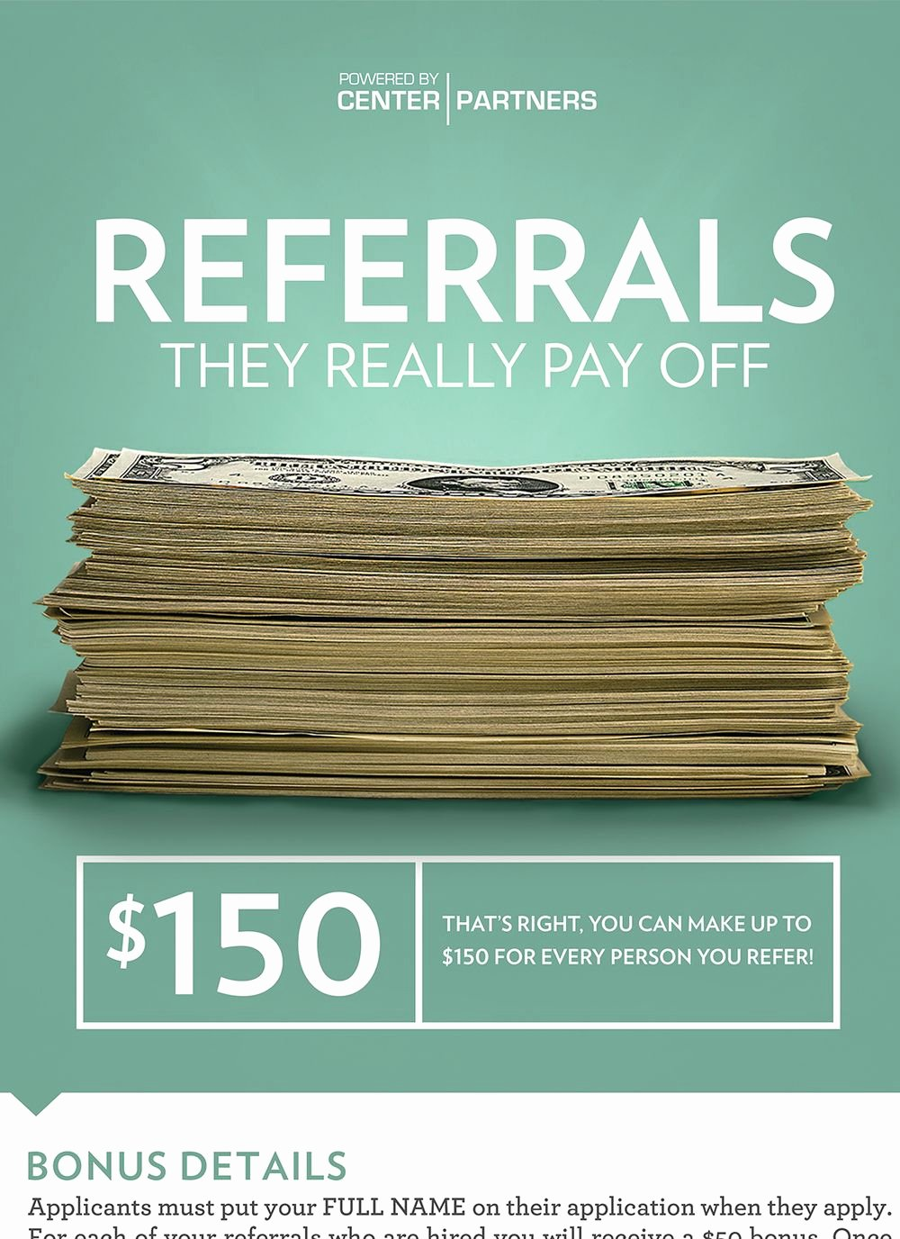 Employee Referral Program Template Elegant Center Partners — Employee Referral Program Poster Close