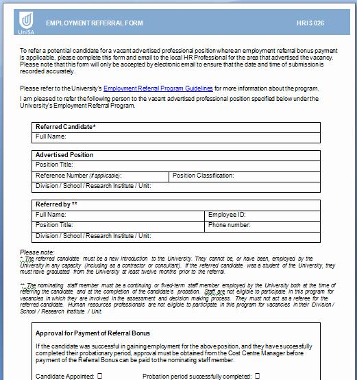 Employee Referral Program Template Inspirational 4 Employee Referral form Templates