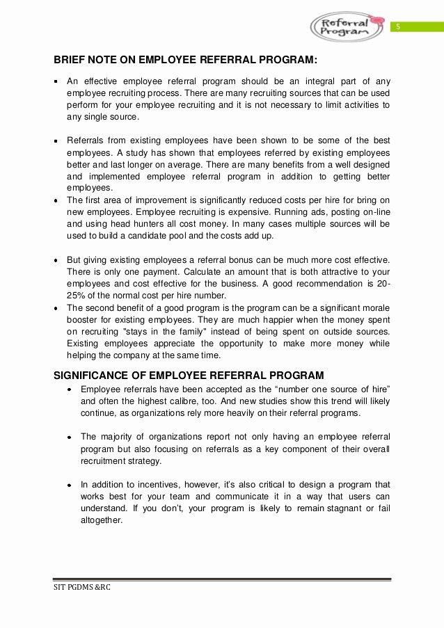 Employee Referral Program Template Inspirational Employee Referral Program Pdf