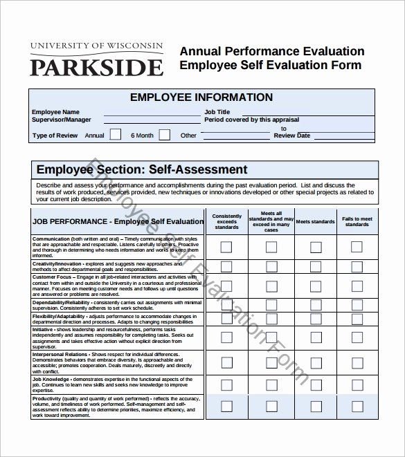 Employee Self assessment Template Awesome Sample Employee Self Evaluation form 16 Free Documents