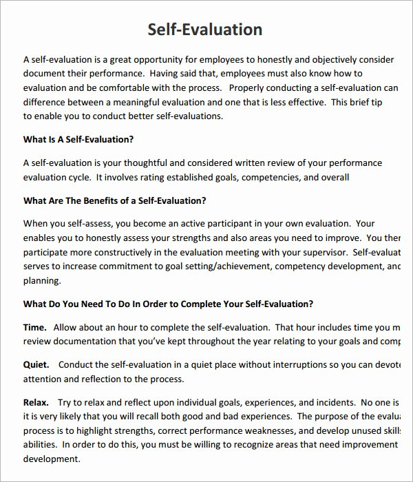 Employee Self assessment Template Beautiful 16 Sample Employee Self Evaluation form Pdf Word Pages