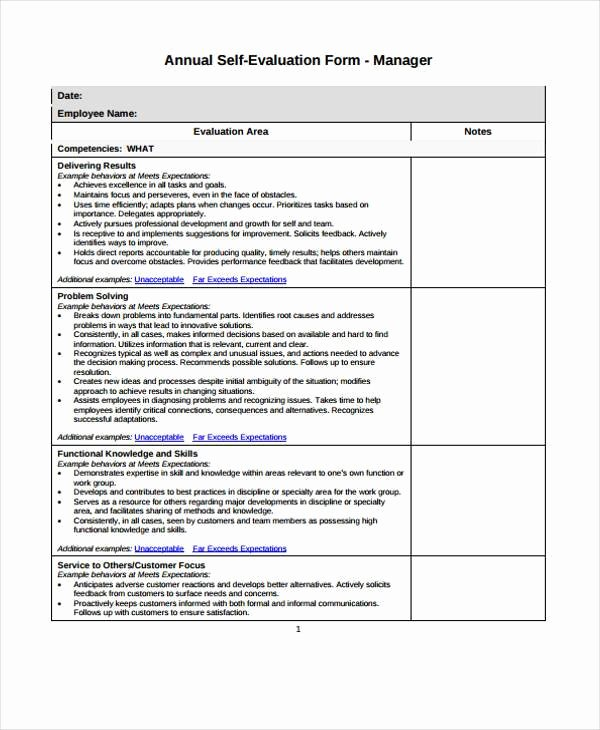 Employee Self assessment Template Beautiful 7 Employee Self Evaluation form Samples Free Sample