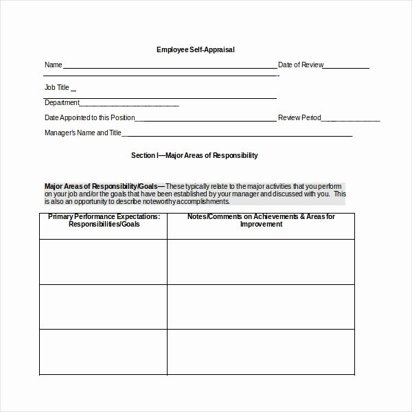 Employee Self assessment Template Best Of 10 Sample Self assessment forms