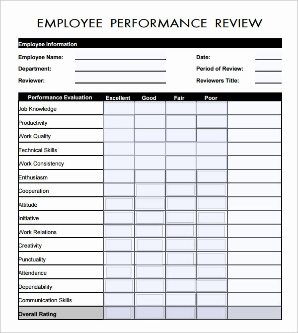 Employee Self assessment Template Best Of Employee Evaluation form 16 Download Free Documents In Pdf