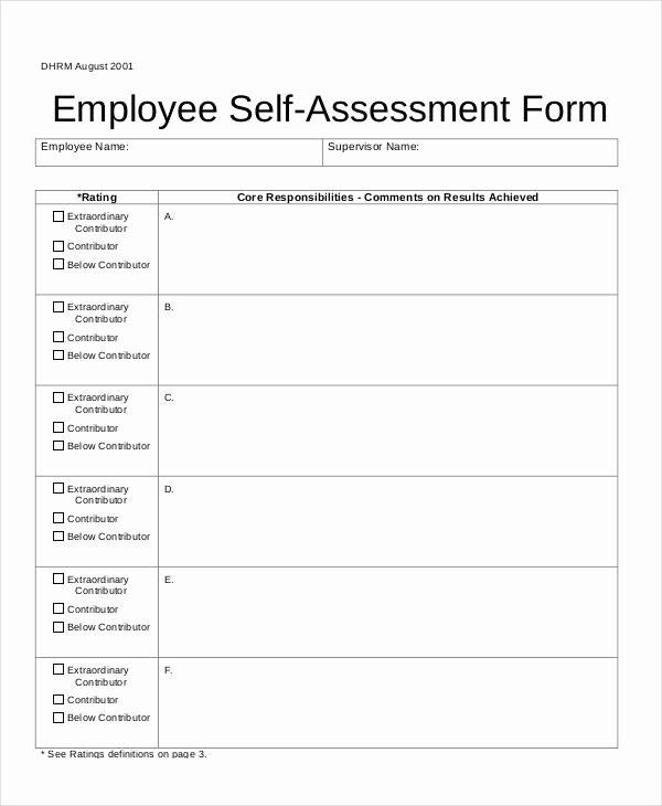 Employee Self assessment Template Lovely Self assessment form
