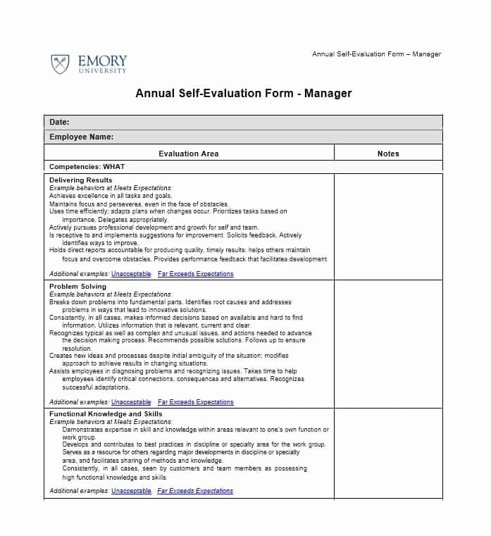 Employee Self assessment Template Luxury 50 Self Evaluation Examples forms & Questions Template Lab